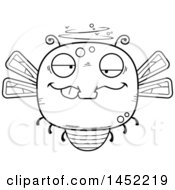Poster, Art Print Of Cartoon Black And White Lineart Drunk Dragonfly Character Mascot