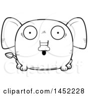 Clipart Graphic Of A Cartoon Black And White Lineart Surprised Elephant Character Mascot Royalty Free Vector Illustration