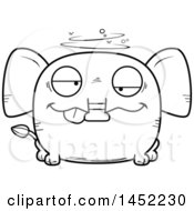 Clipart Graphic Of A Cartoon Black And White Lineart Drunk Elephant Character Mascot Royalty Free Vector Illustration