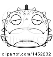 Clipart Graphic Of A Cartoon Black And White Lineart Sad Blowfish Character Mascot Royalty Free Vector Illustration