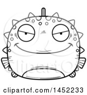 Clipart Graphic Of A Cartoon Black And White Lineart Evil Blowfish Character Mascot Royalty Free Vector Illustration