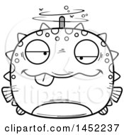 Clipart Graphic Of A Cartoon Black And White Lineart Drunk Blowfish Character Mascot Royalty Free Vector Illustration