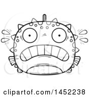 Clipart Graphic Of A Cartoon Black And White Lineart Scared Blowfish Character Mascot Royalty Free Vector Illustration