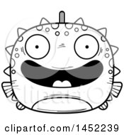 Clipart Graphic Of A Cartoon Black And White Lineart Happy Blowfish Character Mascot Royalty Free Vector Illustration