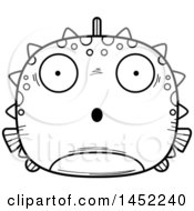 Clipart Graphic Of A Cartoon Black And White Lineart Surprised Blowfish Character Mascot Royalty Free Vector Illustration