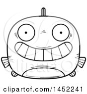 Clipart Graphic Of A Cartoon Black And White Lineart Grinning Fish Character Mascot Royalty Free Vector Illustration