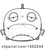 Cartoon Black And White Lineart Sad Fish Character Mascot