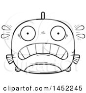 Cartoon Black And White Lineart Scared Fish Character Mascot