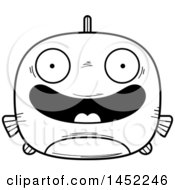 Cartoon Black And White Lineart Happy Fish Character Mascot