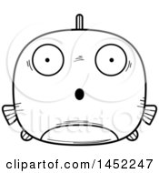Clipart Graphic Of A Cartoon Black And White Lineart Surprised Fish Character Mascot Royalty Free Vector Illustration