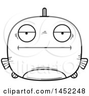 Clipart Graphic Of A Cartoon Black And White Lineart Bored Fish Character Mascot Royalty Free Vector Illustration