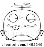 Clipart Graphic Of A Cartoon Black And White Lineart Drunk Fish Character Mascot Royalty Free Vector Illustration