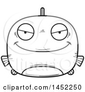 Cartoon Black And White Lineart Evil Fish Character Mascot