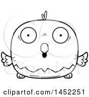 Cartoon Black And White Lineart Surprised Bald Eagle Character Mascot