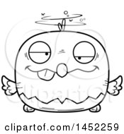 Cartoon Black And White Lineart Drunk Bald Eagle Character Mascot