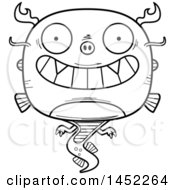 Clipart Graphic Of A Cartoon Black And White Lineart Grinning Chinese Dragon Character Mascot Royalty Free Vector Illustration