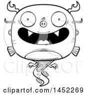 Clipart Graphic Of A Cartoon Black And White Lineart Happy Chinese Dragon Character Mascot Royalty Free Vector Illustration