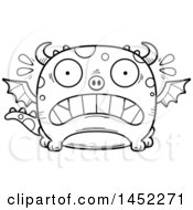 Clipart Graphic Of A Cartoon Black And White Lineart Scared Dragon Character Mascot Royalty Free Vector Illustration