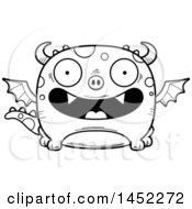 Clipart Graphic Of A Cartoon Black And White Lineart Happy Dragon Character Mascot Royalty Free Vector Illustration