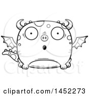Clipart Graphic Of A Cartoon Black And White Lineart Surprised Dragon Character Mascot Royalty Free Vector Illustration