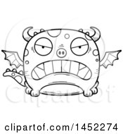 Clipart Graphic Of A Cartoon Black And White Lineart Mad Dragon Character Mascot Royalty Free Vector Illustration