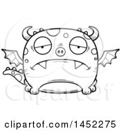 Clipart Graphic Of A Cartoon Black And White Lineart Sad Dragon Character Mascot Royalty Free Vector Illustration