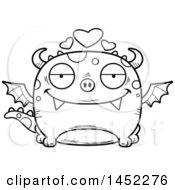 Poster, Art Print Of Cartoon Black And White Lineart Loving Dragon Character Mascot