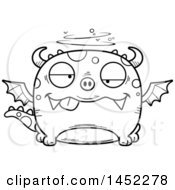 Clipart Graphic Of A Cartoon Black And White Lineart Drunk Dragon Character Mascot Royalty Free Vector Illustration
