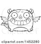 Clipart Graphic Of A Cartoon Black And White Lineart Grinning Dragon Character Mascot Royalty Free Vector Illustration