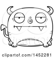 Poster, Art Print Of Cartoon Black And White Lineart Bored Devil Character Mascot