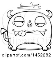 Cartoon Black And White Lineart Drunk Devil Character Mascot