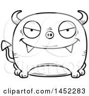 Poster, Art Print Of Cartoon Black And White Lineart Evil Devil Character Mascot