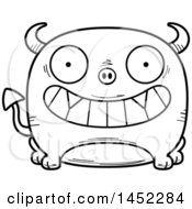 Poster, Art Print Of Cartoon Black And White Lineart Grinning Devil Character Mascot