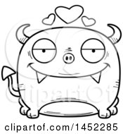Cartoon Black And White Lineart Loving Devil Character Mascot