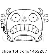 Poster, Art Print Of Cartoon Black And White Lineart Scared Devil Character Mascot