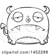 Cartoon Black And White Lineart Sad Devil Character Mascot