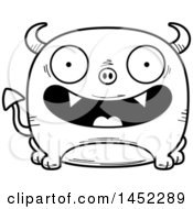 Poster, Art Print Of Cartoon Black And White Lineart Happy Devil Character Mascot