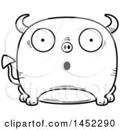 Cartoon Black And White Lineart Surprised Devil Character Mascot