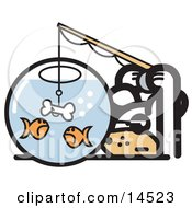 Silly Dog Trying To Catch Goldfish In A Bowl With A Dog Bone On A Hook Clipart Illustration