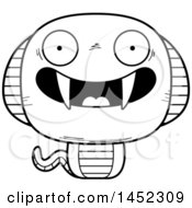 Clipart Graphic Of A Cartoon Black And White Lineart Happy Cobra Snake Character Mascot Royalty Free Vector Illustration