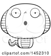 Clipart Graphic Of A Cartoon Black And White Lineart Surprised Cobra Snake Character Mascot Royalty Free Vector Illustration