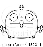 Clipart Graphic Of A Cartoon Black And White Lineart Bored Chick Character Mascot Royalty Free Vector Illustration