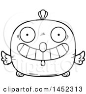 Poster, Art Print Of Cartoon Black And White Lineart Grinning Chick Character Mascot