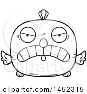 Clipart Graphic Of A Cartoon Black And White Lineart Mad Chick Character Mascot Royalty Free Vector Illustration