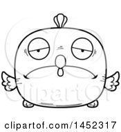 Cartoon Black And White Lineart Sad Chick Character Mascot