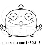 Clipart Graphic Of A Cartoon Black And White Lineart Sly Chick Character Mascot Royalty Free Vector Illustration