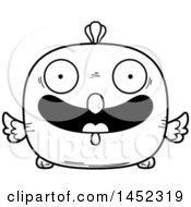 Clipart Graphic Of A Cartoon Black And White Lineart Happy Chick Character Mascot Royalty Free Vector Illustration