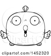 Clipart Graphic Of A Cartoon Black And White Lineart Surprised Chick Character Mascot Royalty Free Vector Illustration