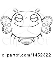 Poster, Art Print Of Cartoon Black And White Lineart Evil Butterfly Character Mascot