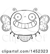 Poster, Art Print Of Cartoon Black And White Lineart Grinning Butterfly Character Mascot